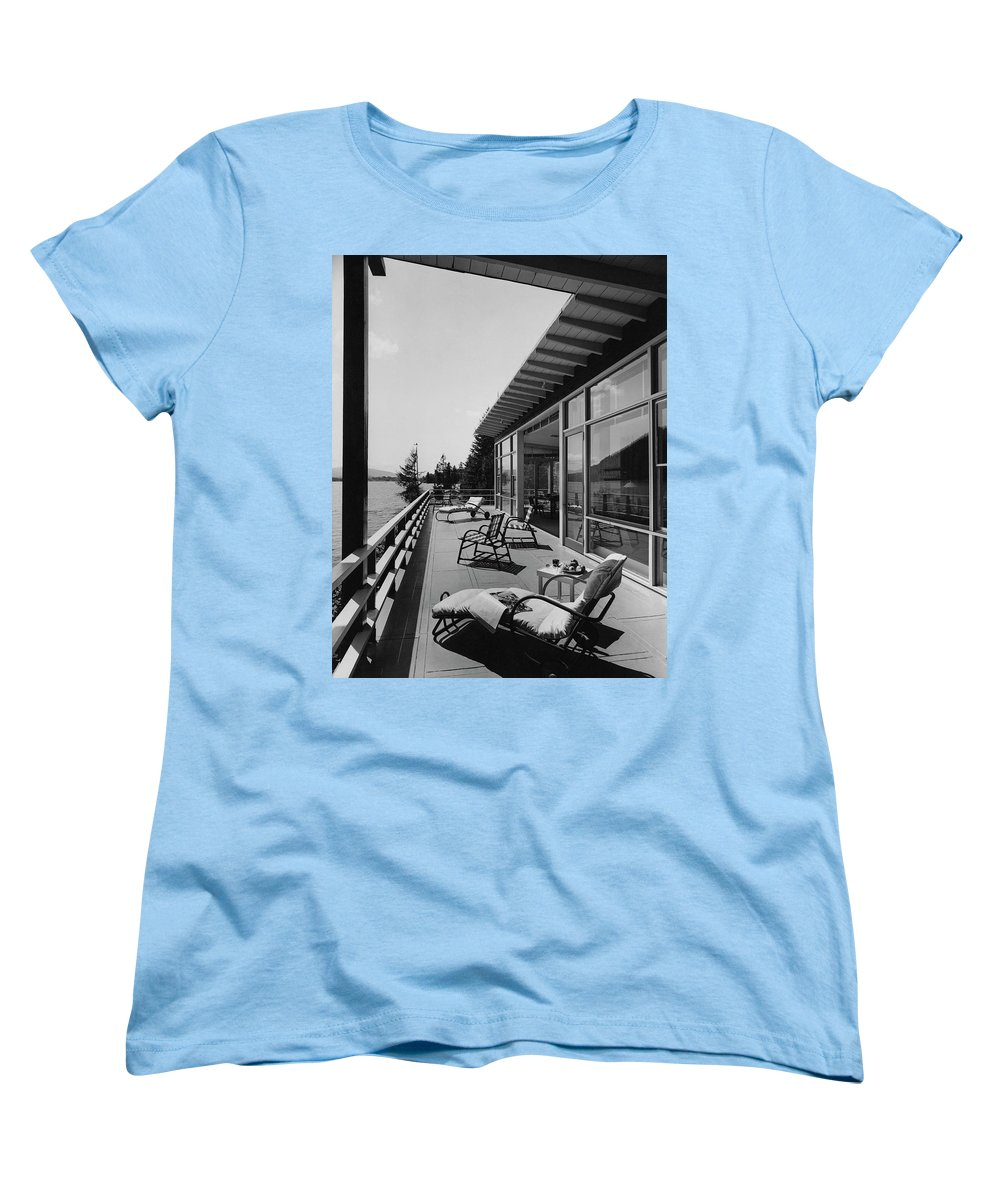 Architecture Women's T-Shirt (Standard Fit) featuring the photograph The Alfred Rose Lake Placid Summer Home by Robert M. Damora