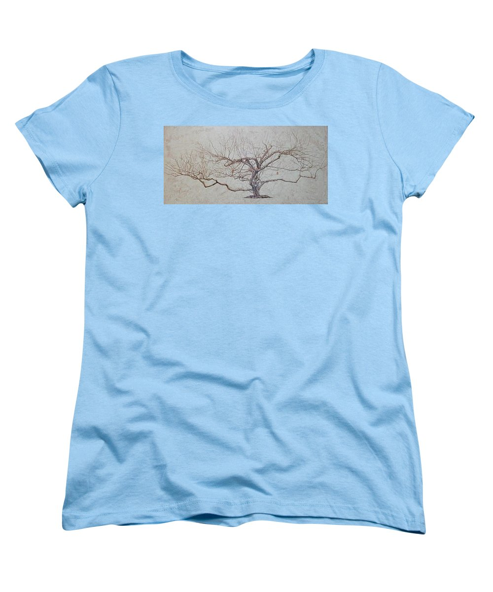 Apple Tree Women's T-Shirt (Standard Cut) featuring the painting Apple Tree In Winter by Leah Tomaino
