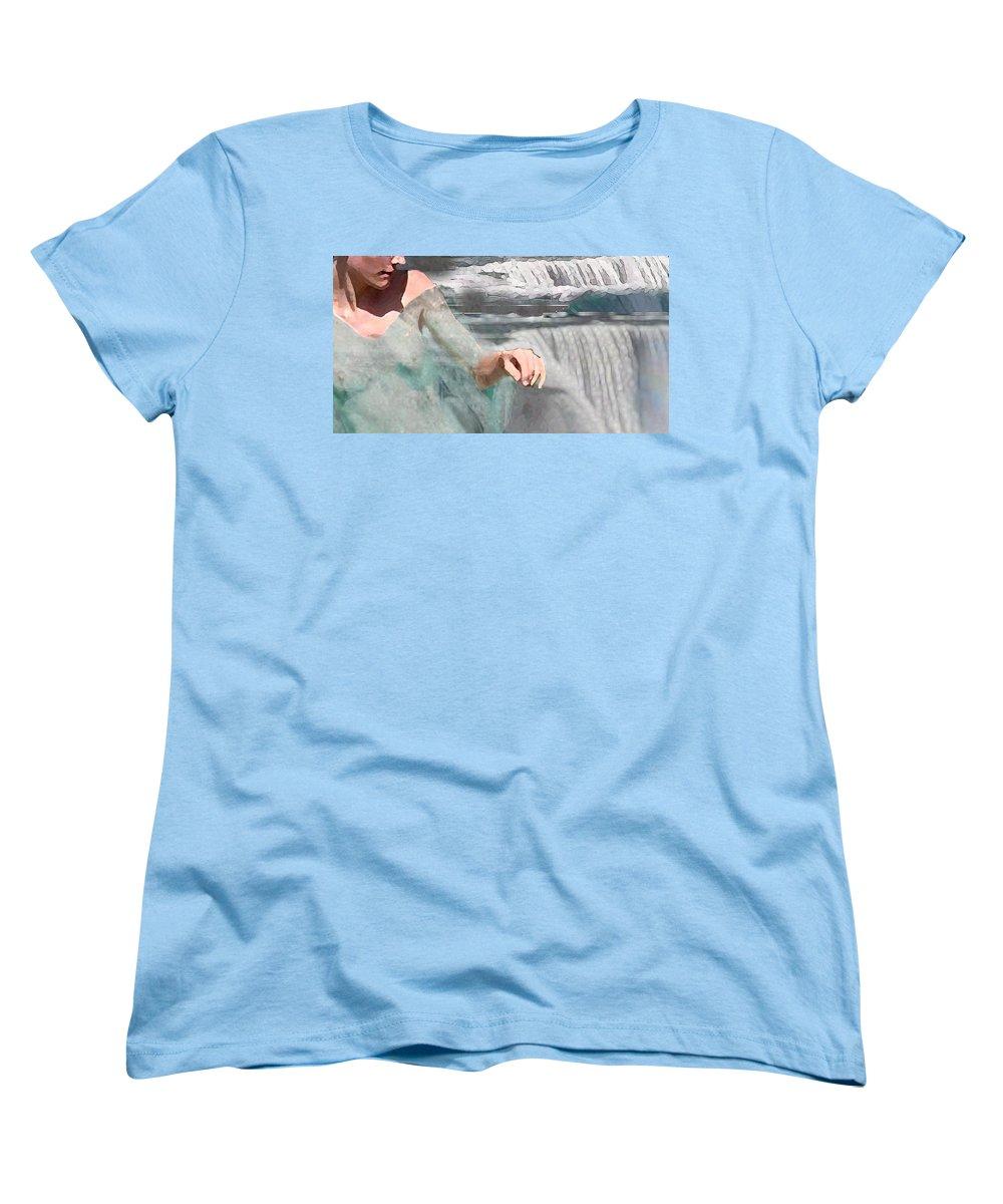 Waterscape Women's T-Shirt (Standard Cut) featuring the digital art Cascade by Steve Karol