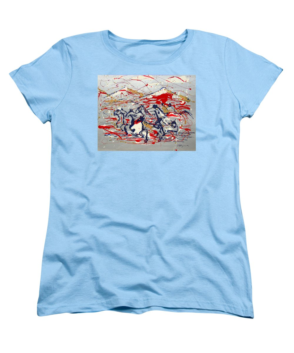 Wild Horses Women's T-Shirt (Standard Cut) featuring the painting Freedom On The Open Range by J R Seymour