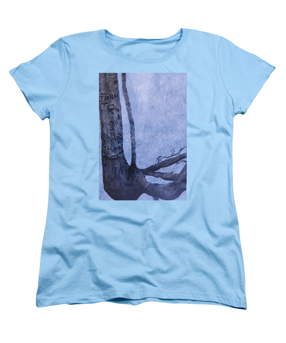 Tree Trunk Women's T-Shirt (Standard Cut) featuring the painting Hedden Park II by Leah Tomaino