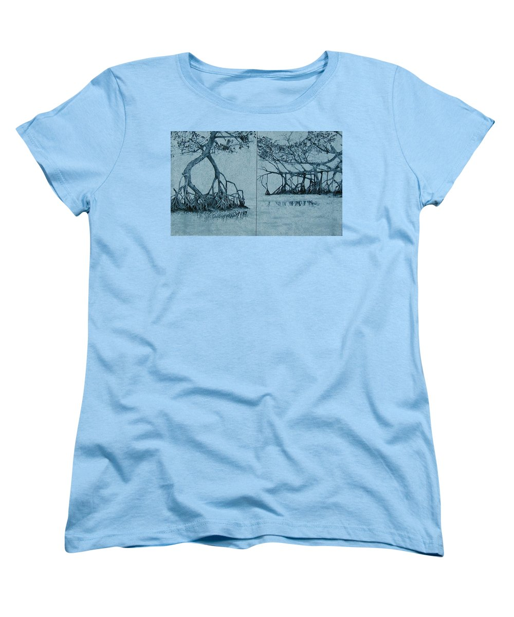 Blue Women's T-Shirt (Standard Cut) featuring the painting Mangroves by Leah Tomaino