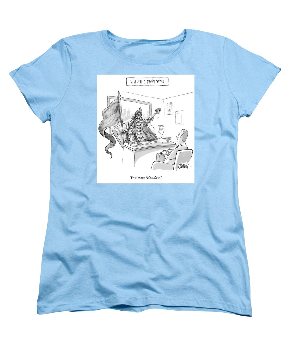 Monday Women's T-Shirt (Standard Fit) featuring the drawing Vlad The Employer by Jason Chatfield