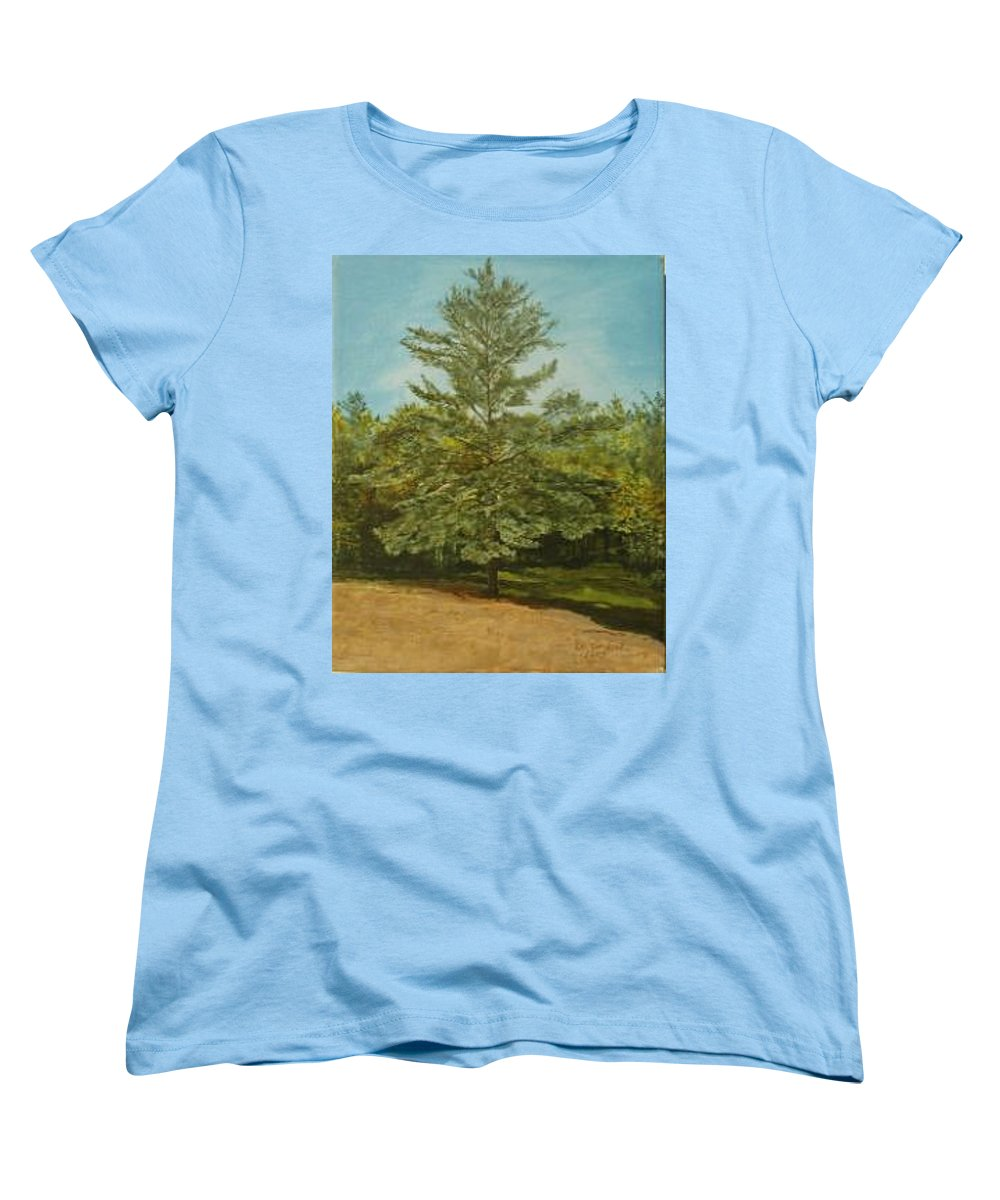 Pine Tree Women's T-Shirt (Standard Cut) featuring the painting White Lake by Leah Tomaino