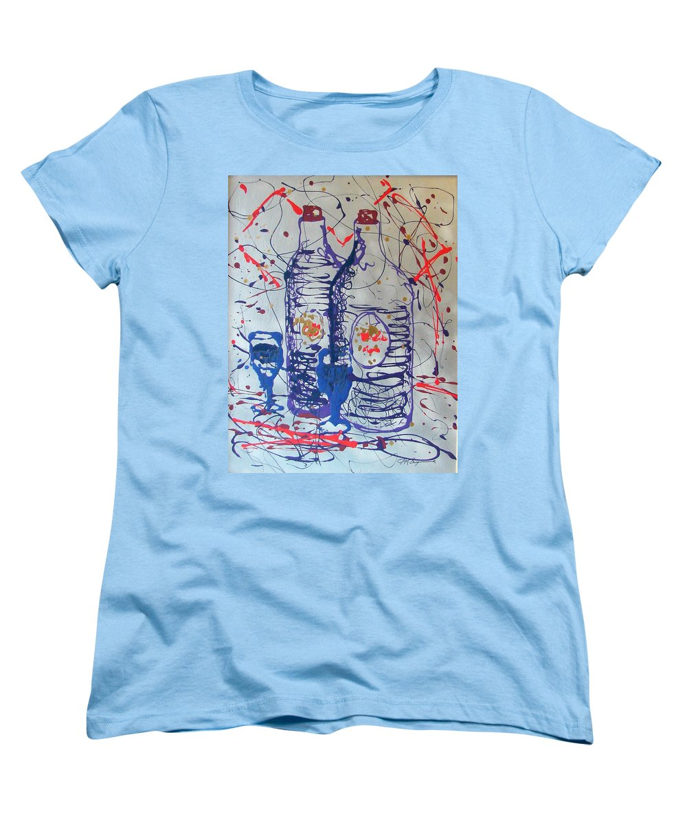 Wine Glass And Bottles Women's T-Shirt (Standard Cut) featuring the painting Wine Jugs by J R Seymour