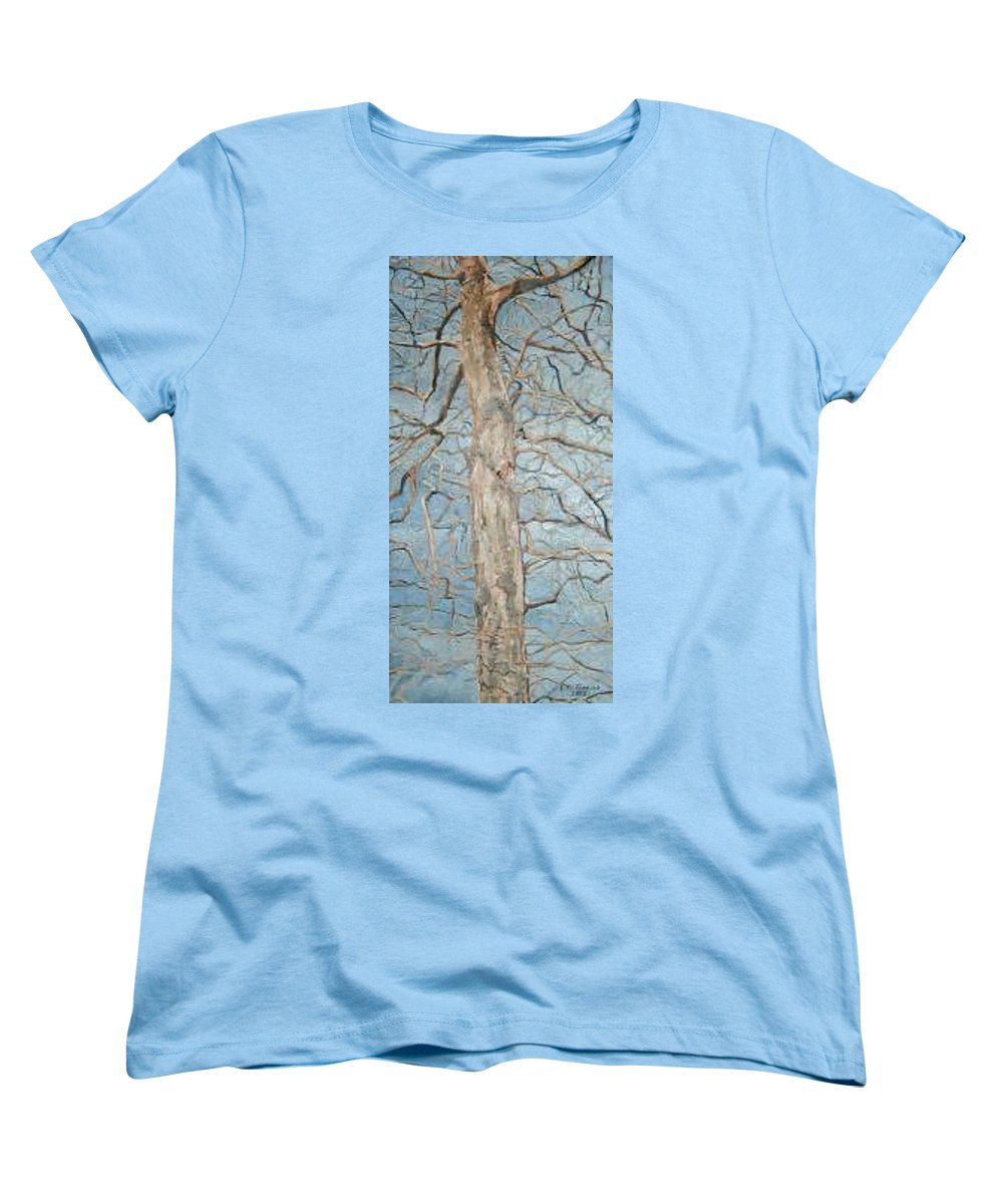 Tree Women's T-Shirt (Standard Cut) featuring the painting Winter Morning by Leah Tomaino