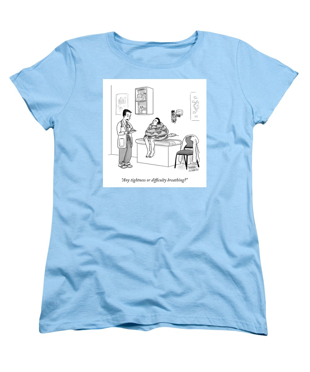 Any Tightness Or Difficulty Breathing? Women's T-Shirt (Standard Fit) featuring the drawing Any Tightness? by Sofia Warren