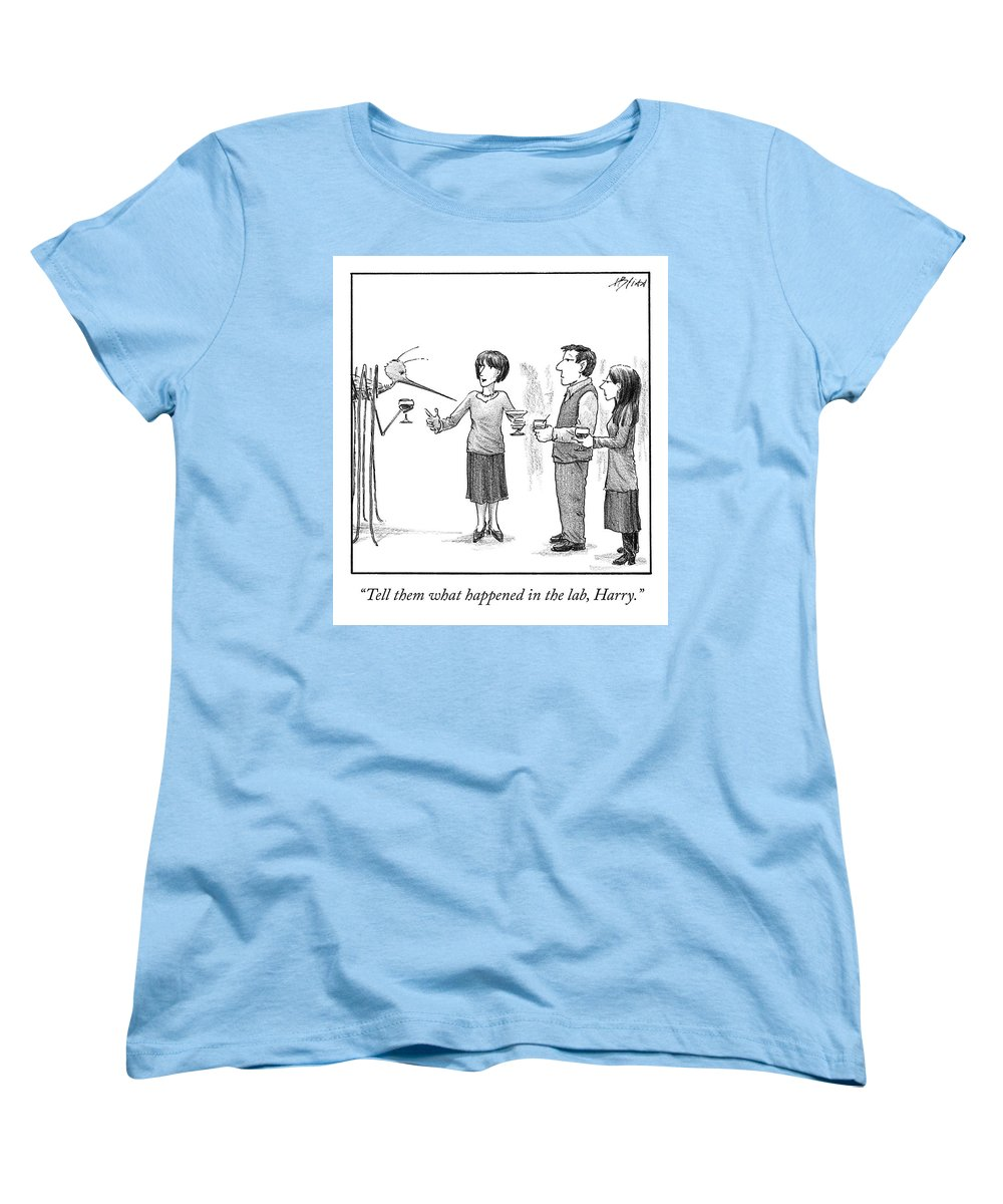 Cctk Women's T-Shirt (Standard Fit) featuring the drawing What Happened In The Lab by Harry Bliss