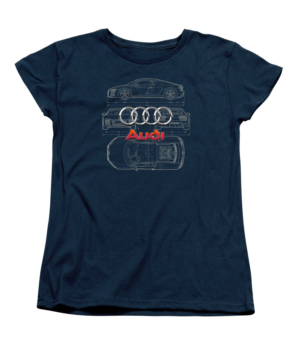 �wheels Of Fortune� Collection By Serge Averbukh Women's T-Shirt (Standard Cut) featuring the photograph Audi 3 D Badge Over 2016 Audi R 8 Blueprint by Serge Averbukh