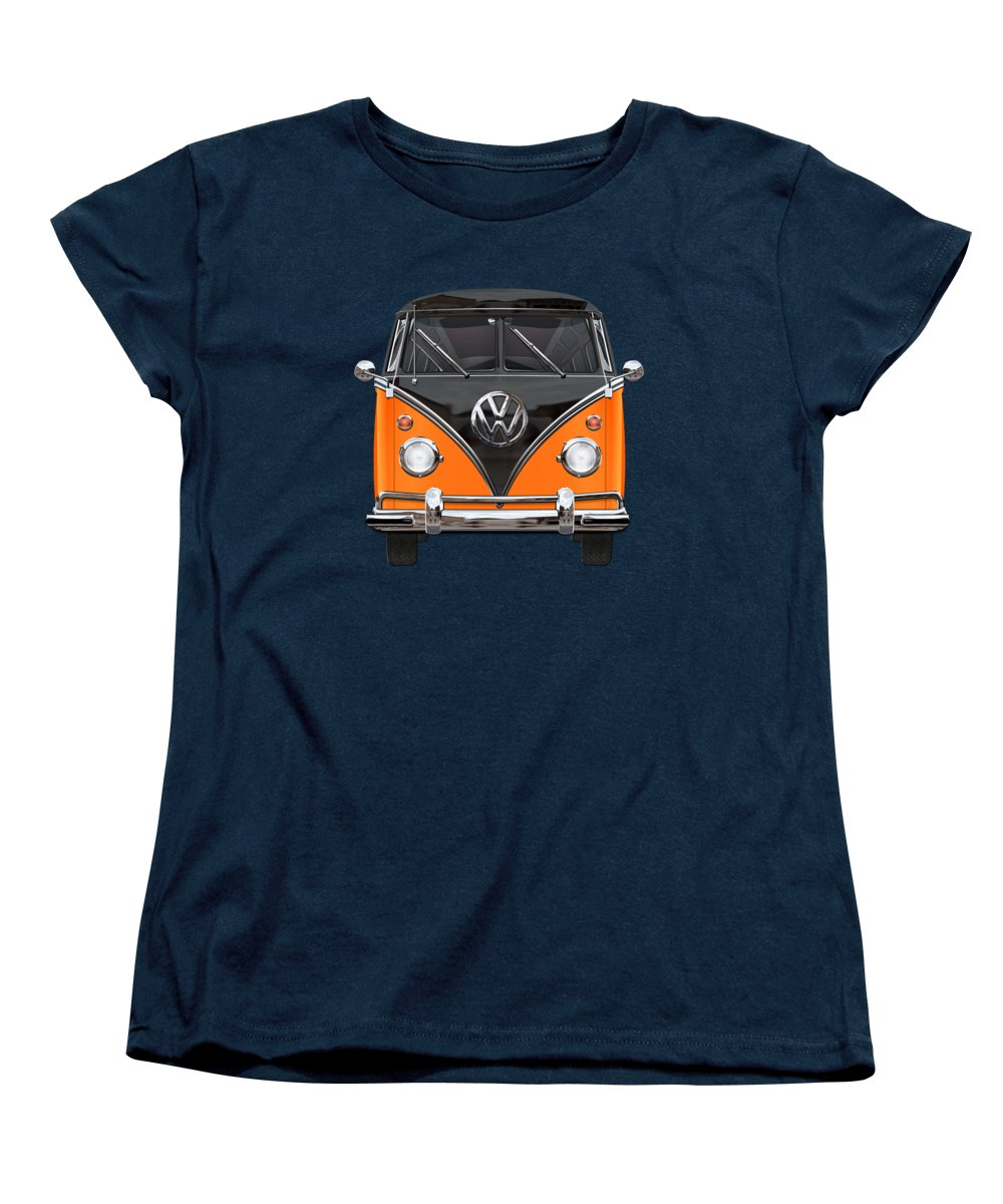 'volkswagen Type 2' Collection By Serge Averbukh Women's T-Shirt (Standard Cut) featuring the photograph Volkswagen Type 2 - Black And Orange Volkswagen T 1 Samba Bus Over Blue by Serge Averbukh