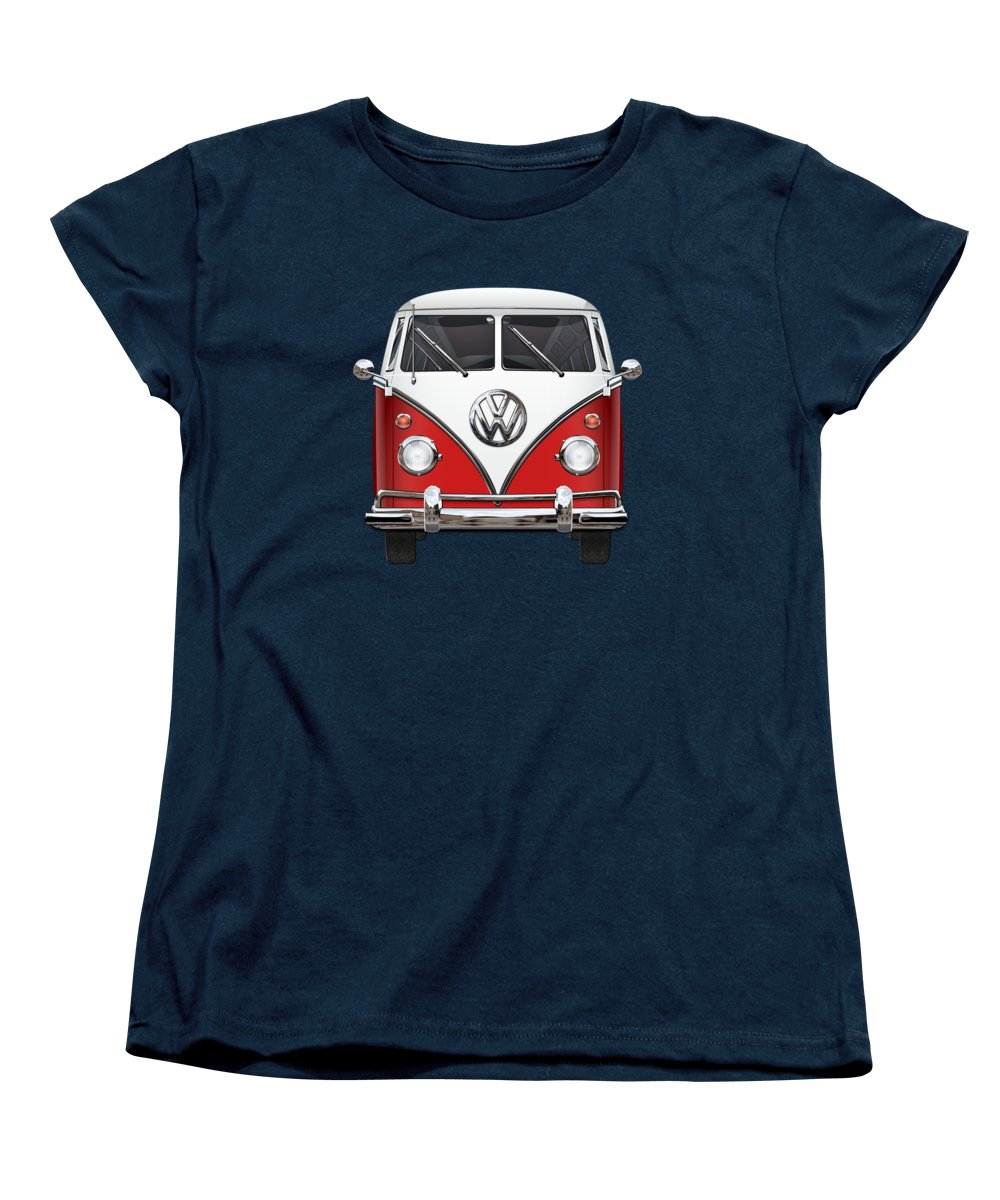 'volkswagen Type 2' Collection By Serge Averbukh Women's T-Shirt (Standard Cut) featuring the photograph Volkswagen Type 2 - Red And White Volkswagen T 1 Samba Bus Over Green Canvas by Serge Averbukh