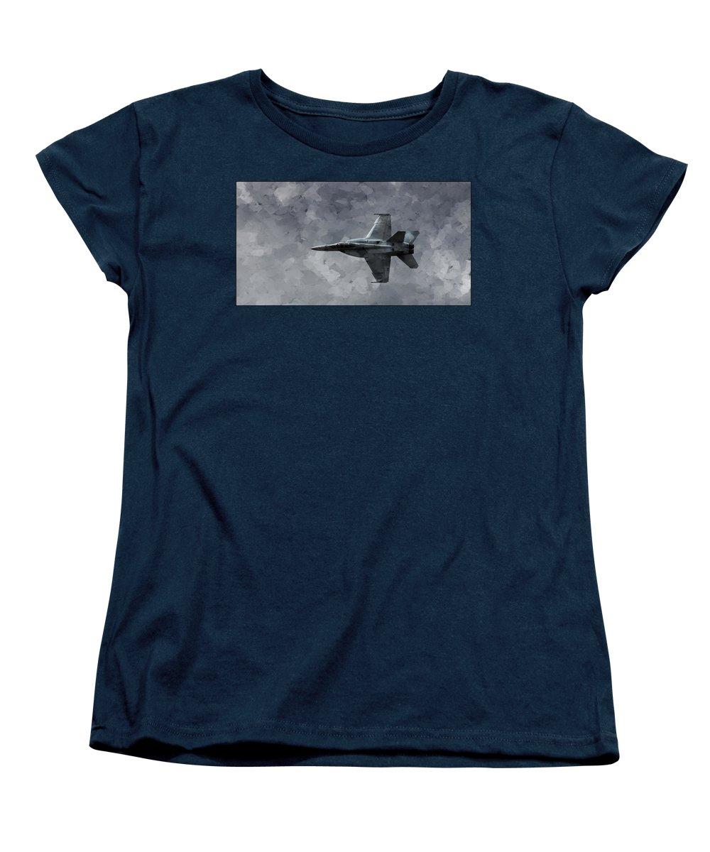 F18 Women's T-Shirt (Standard Cut) featuring the photograph Art In Flight F-18 Fighter by Aaron Lee Berg