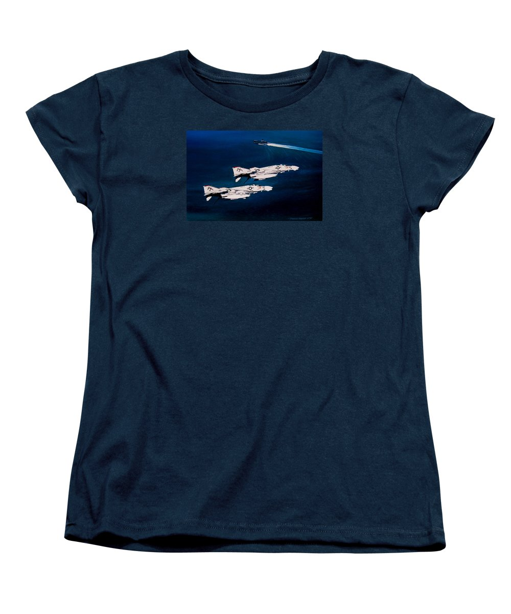 Military Women's T-Shirt (Standard Cut) featuring the painting Forrestal S Phantoms by Marc Stewart