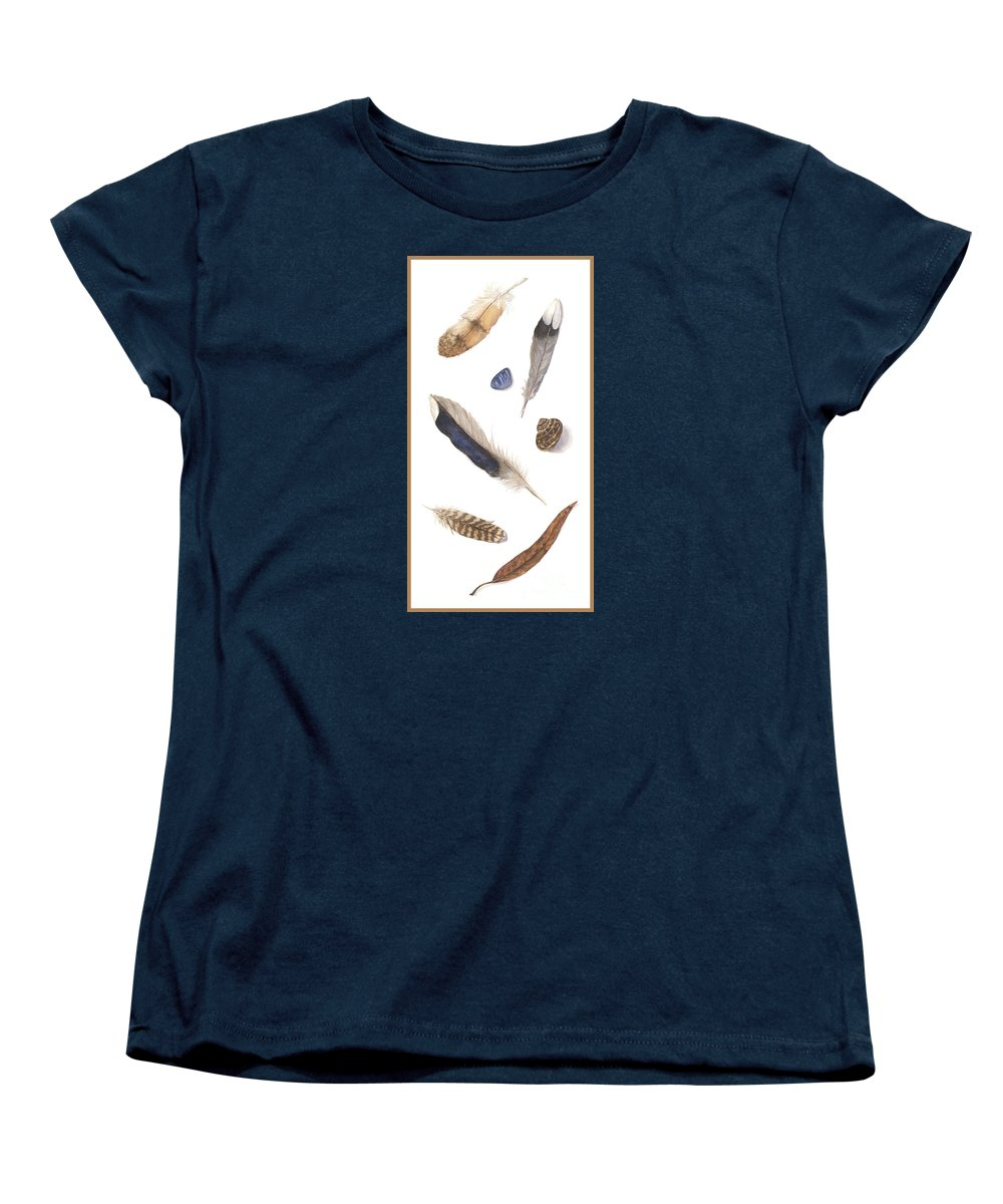 Feathers Women's T-Shirt (Standard Cut) featuring the painting Found Treasures by Lucy Arnold