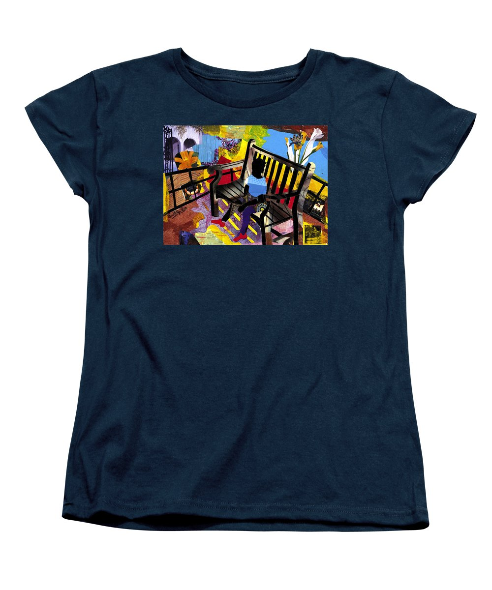 Everett Spruill Women's T-Shirt (Standard Cut) featuring the painting Girl In Red Shoes by Everett Spruill