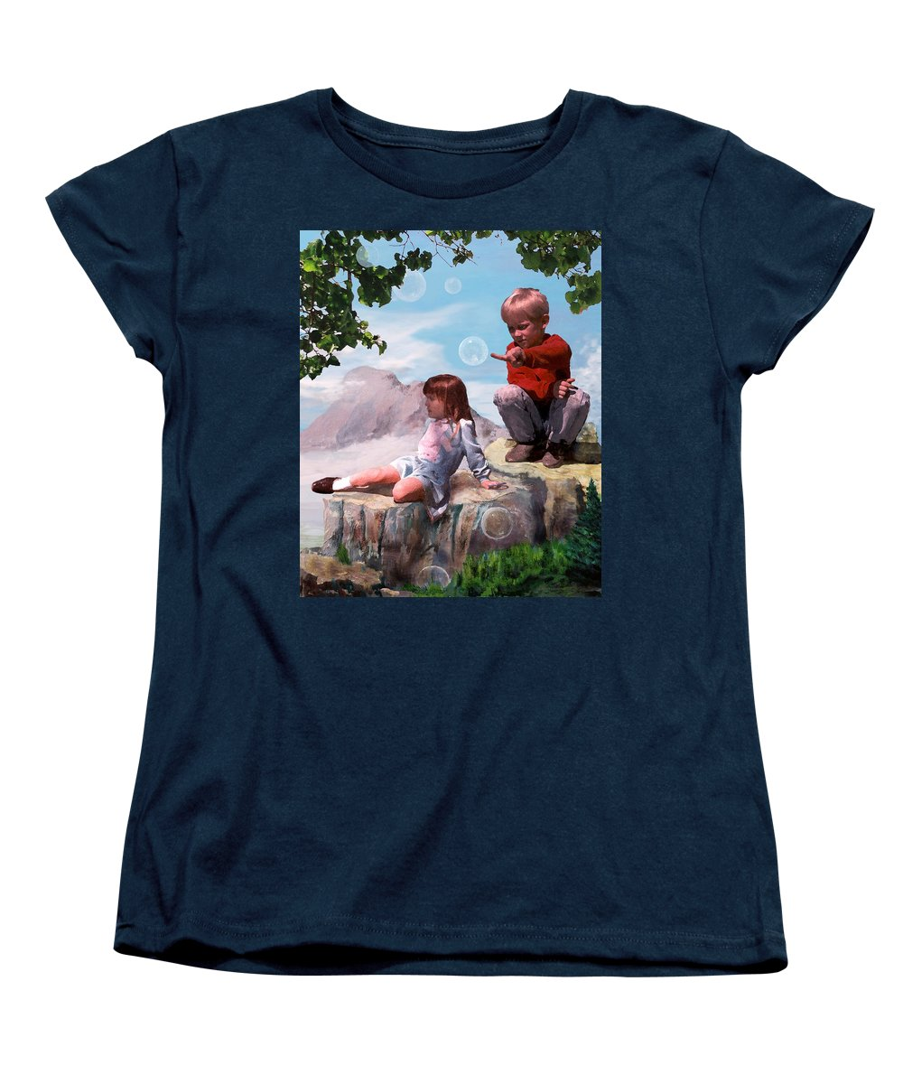 Landscape Women's T-Shirt (Standard Cut) featuring the painting Mount Innocence by Steve Karol