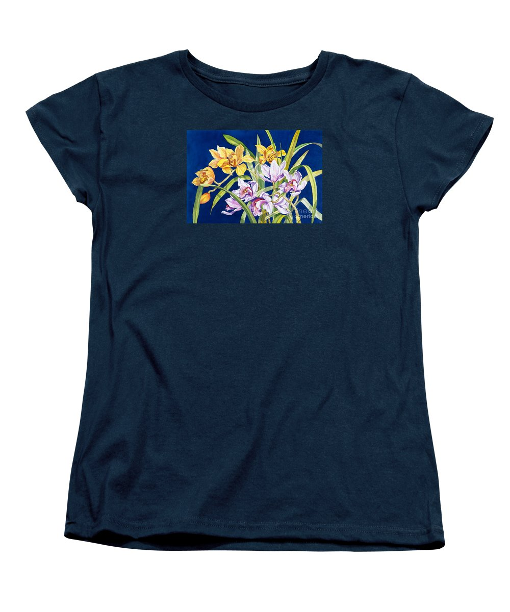 Orchids Women's T-Shirt (Standard Cut) featuring the painting Orchids In Blue by Lucy Arnold