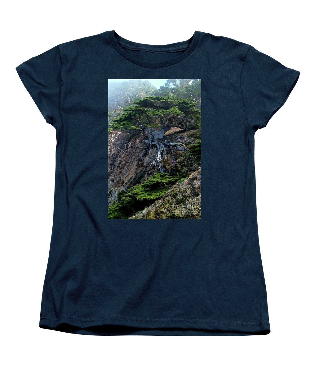 Landscape Women's T-Shirt (Standard Cut) featuring the photograph Point Lobos Veteran Cypress Tree by Charlene Mitchell