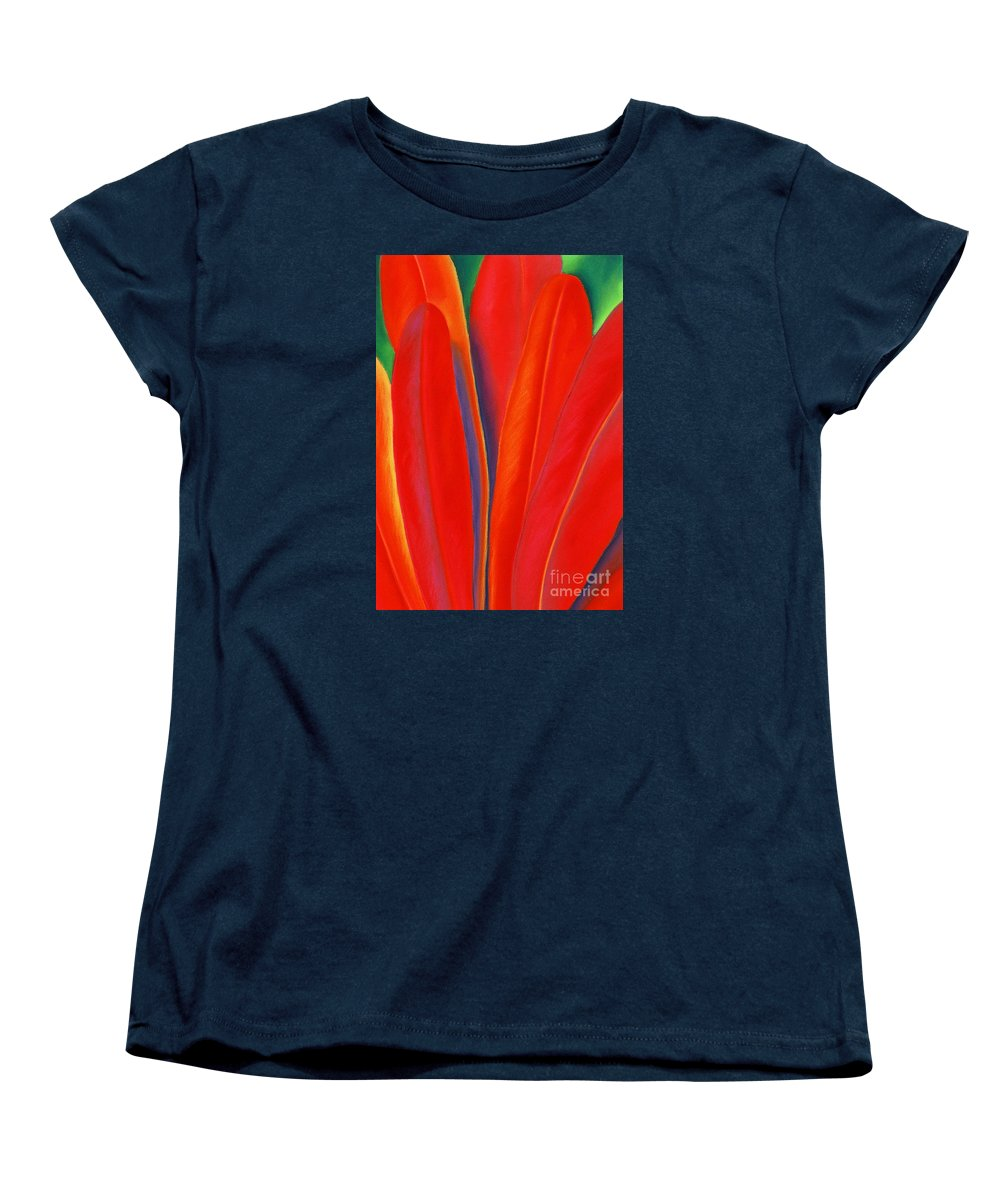 Red Women's T-Shirt (Standard Cut) featuring the painting Red Petals by Lucy Arnold