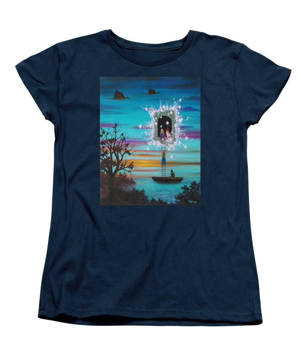 Fantasy Women's T-Shirt (Standard Cut) featuring the painting Sky Window by Roz Eve