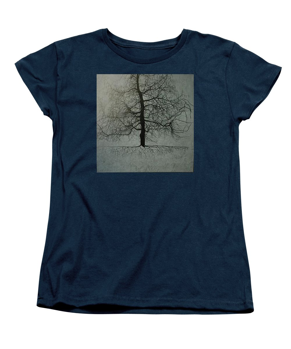 Silhouette Women's T-Shirt (Standard Cut) featuring the painting Untitled Blue by Leah Tomaino
