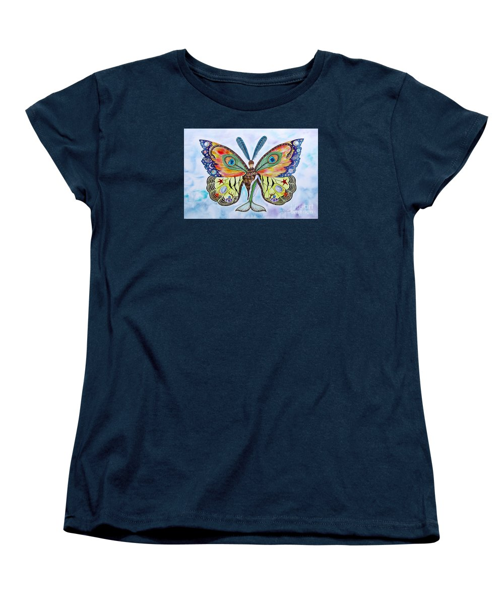 Butterfly Women's T-Shirt (Standard Cut) featuring the painting Winged Metamorphosis by Lucy Arnold