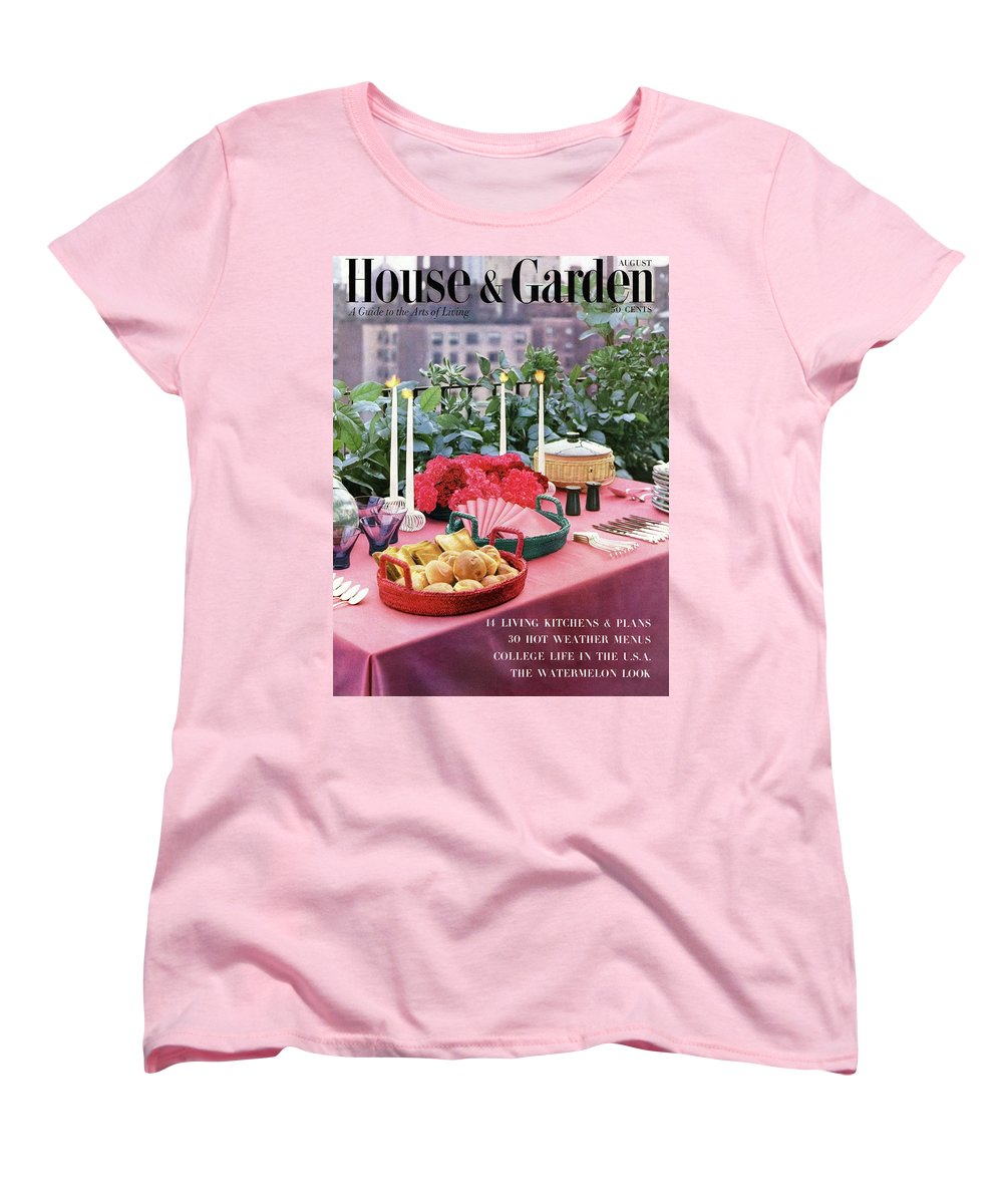 Travel Women's T-Shirt (Standard Fit) featuring the photograph A House And Garden Cover Of Al Fresco Dining by Wiliam Grigsby