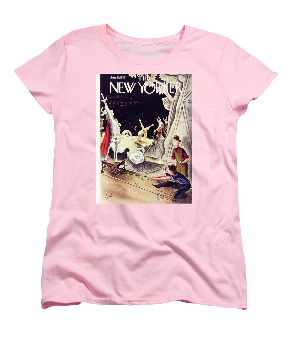Illustration Women's T-Shirt (Standard Fit) featuring the painting New Yorker January 30 1937 by Constantin Alajalov