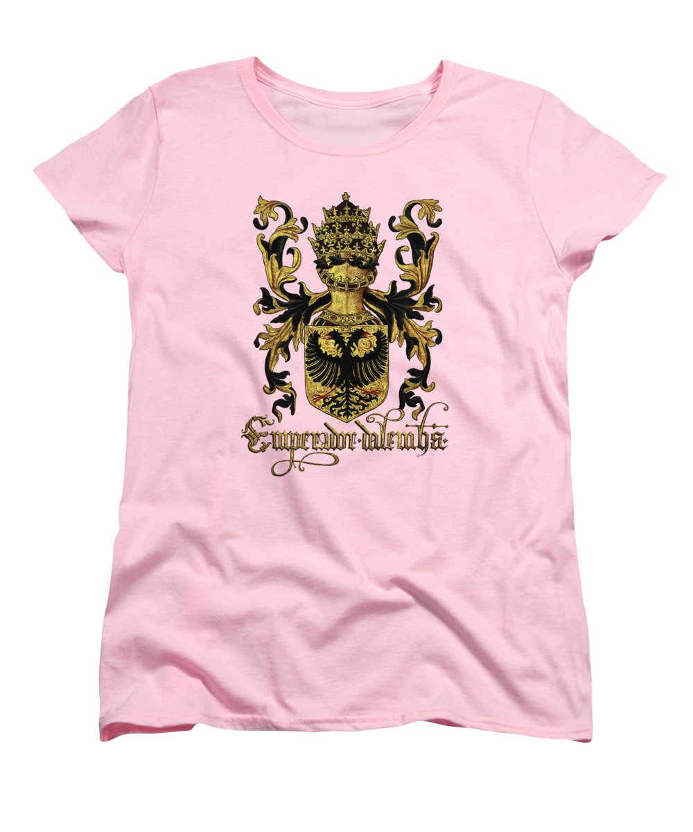'roll Of Arms� Collection By Serge Averbukh Women's T-Shirt (Standard Cut) featuring the photograph Emperor Of Germany Coat Of Arms - Livro Do Armeiro-mor by Serge Averbukh