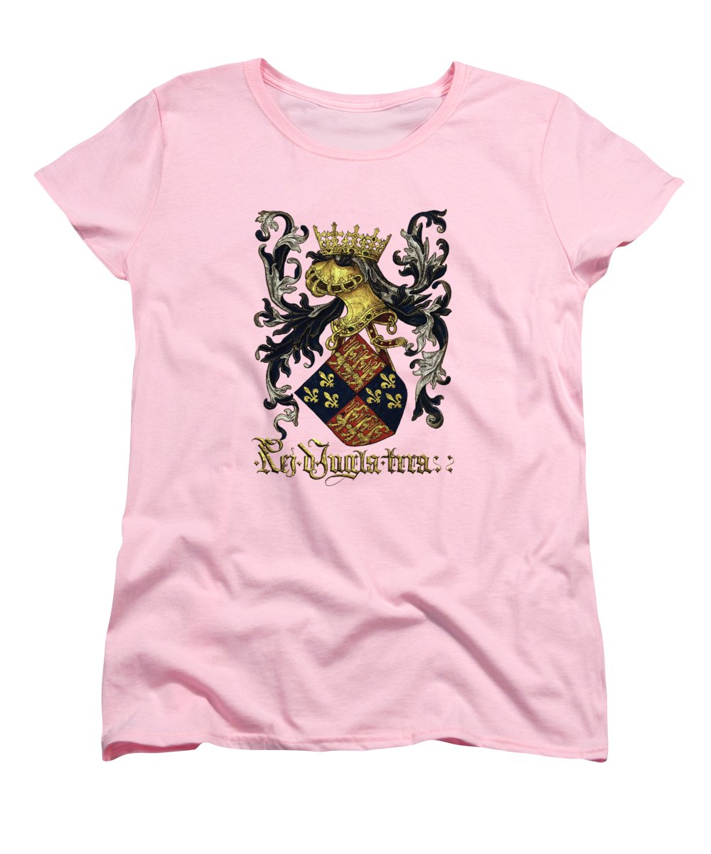 'roll Of Arms� Collection By Serge Averbukh Women's T-Shirt (Standard Cut) featuring the photograph King Of England Coat Of Arms - Livro Do Armeiro-mor by Serge Averbukh