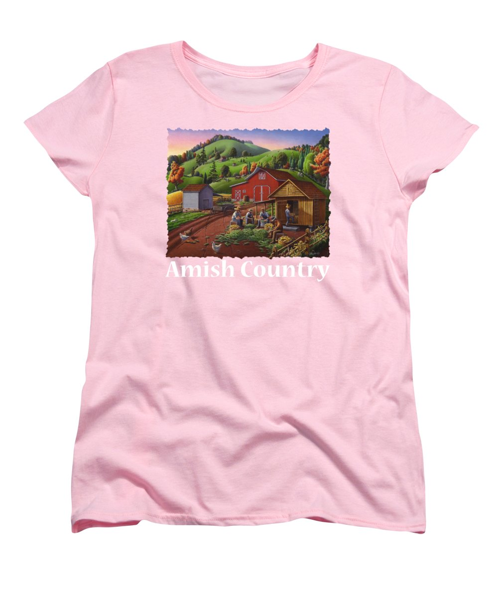 Amish crib for sale - Folk Art Women S T Shirt Standard Cut Featuring The Painting Amish Country T