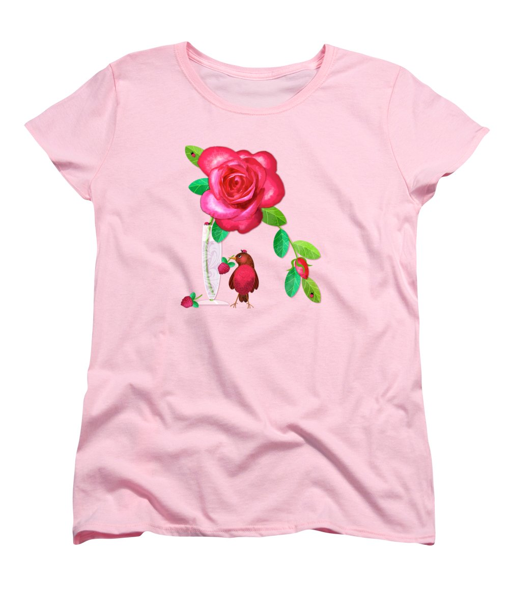 Rose Women's T-Shirt (Standard Fit) featuring the digital art R Is For Rose And Robin by Valerie Drake Lesiak
