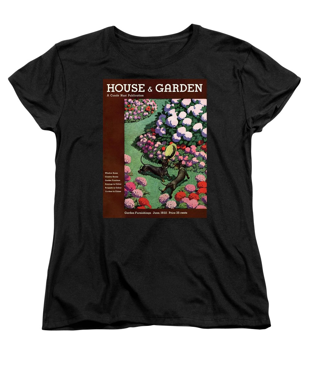Illustration Women's T-Shirt (Standard Fit) featuring the photograph A House And Garden Cover Of Dachshunds With A Hat by Pierre Brissaud