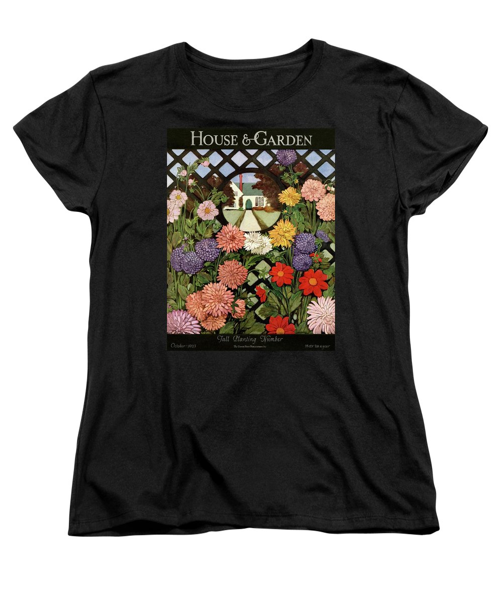 Illustration Women's T-Shirt (Standard Fit) featuring the photograph A House And Garden Cover Of Flowers by Ethel Franklin Betts Baines