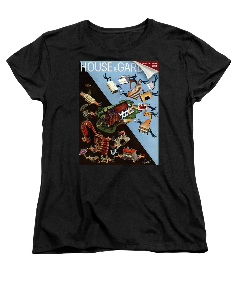 Illustration Women's T-Shirt (Standard Fit) featuring the photograph A House And Garden Cover Of People Moving House by Constantin Alajalov