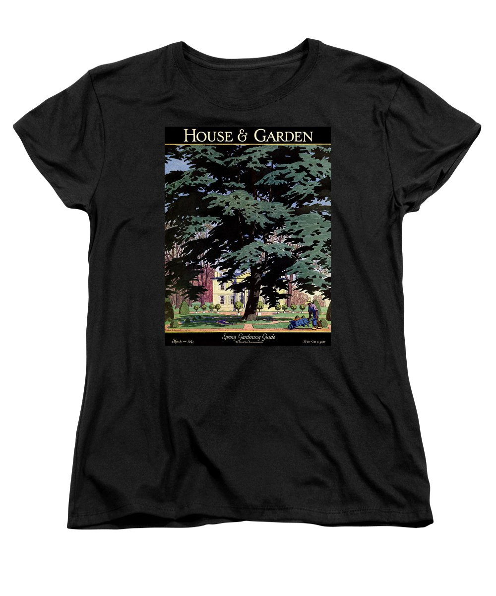 House And Garden Women's T-Shirt (Standard Fit) featuring the photograph House And Garden Spring Gardening Guide Cover by Pierre Brissaud