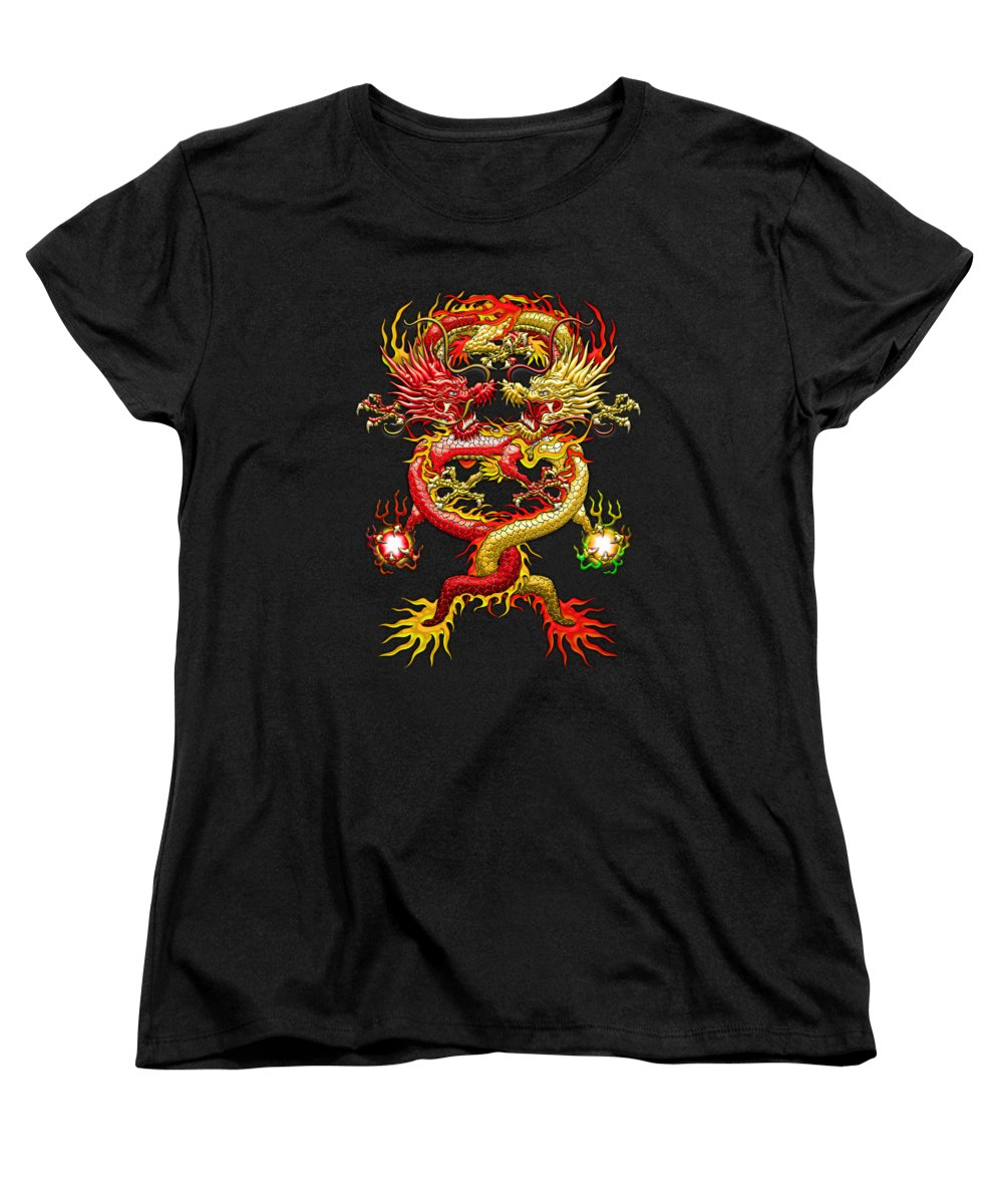 �treasures Of Asia� Collection By Serge Averbukh Women's T-Shirt (Standard Cut) featuring the photograph Brotherhood Of The Snake - The Red And The Yellow Dragons by Serge Averbukh