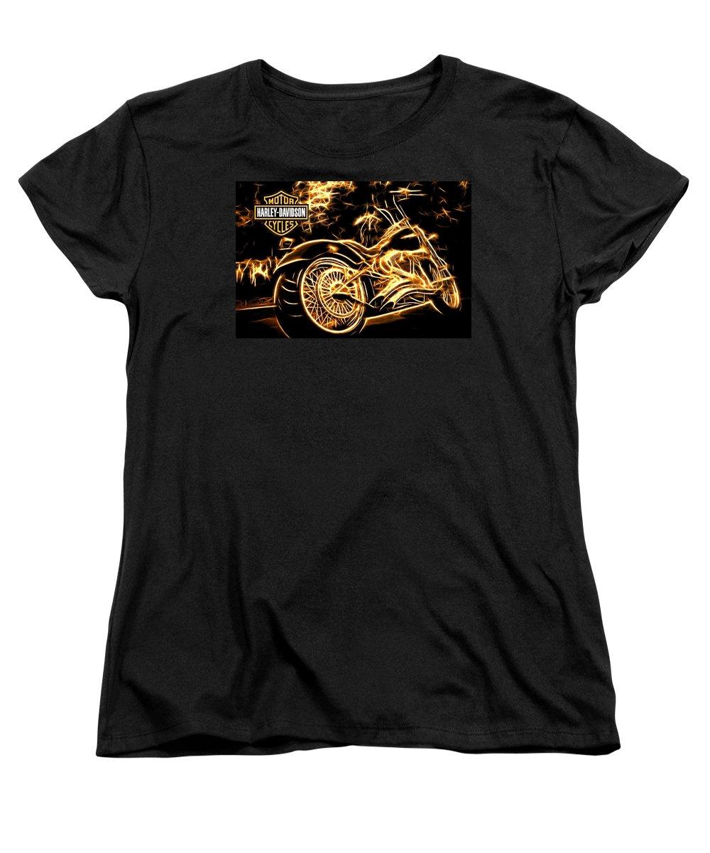 Harley-davidson Women's T-Shirt (Standard Cut) featuring the photograph Harley-davidson by Aaron Berg