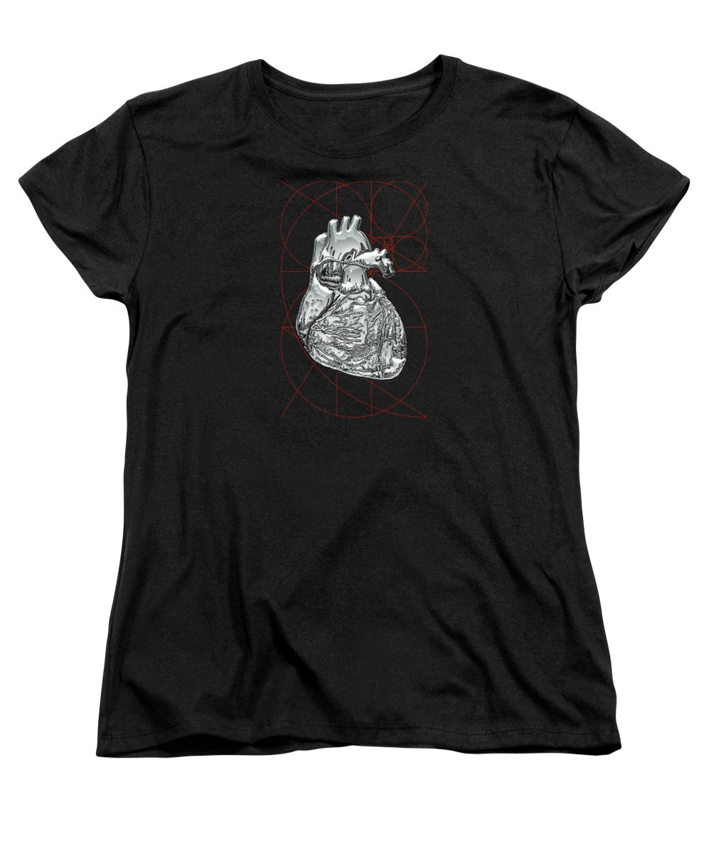 �inner Workings� Collection By Serge Averbukh Women's T-Shirt (Standard Cut) featuring the photograph Silver Human Heart On Black Canvas by Serge Averbukh