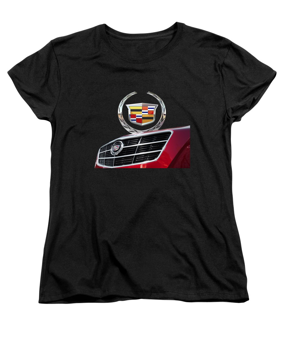 'auto Badges' By Serge Averbukh Women's T-Shirt (Standard Cut) featuring the photograph Red Cadillac C T S - Front Grill Ornament And 3d Badge On Black by Serge Averbukh