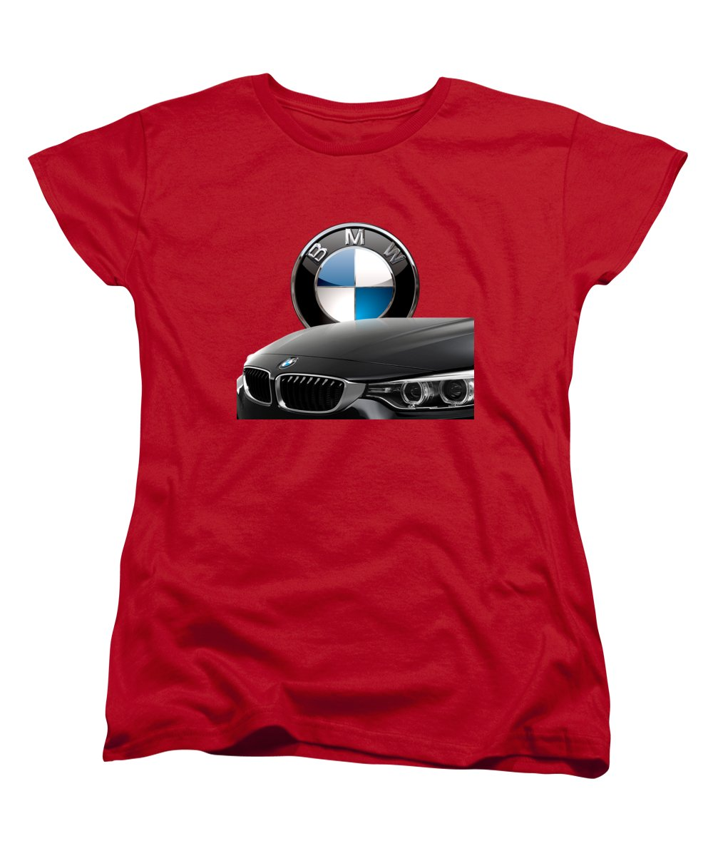 �auto Badges� Collection By Serge Averbukh Women's T-Shirt (Standard Cut) featuring the photograph Black B M W - Front Grill Ornament And 3 D Badge On Red by Serge Averbukh