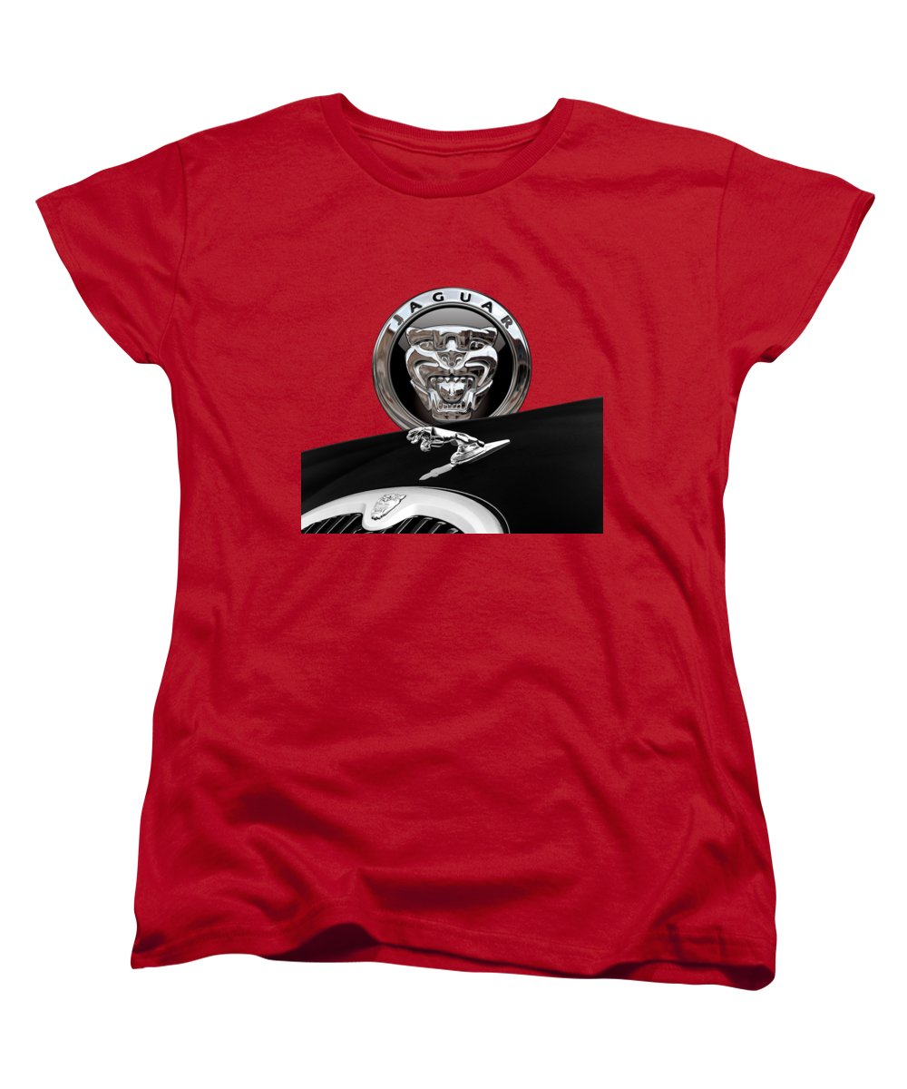 'auto Badges' Collection By Serge Averbukh Women's T-Shirt (Standard Cut) featuring the photograph Black Jaguar - Hood Ornaments And 3 D Badge On Red by Serge Averbukh