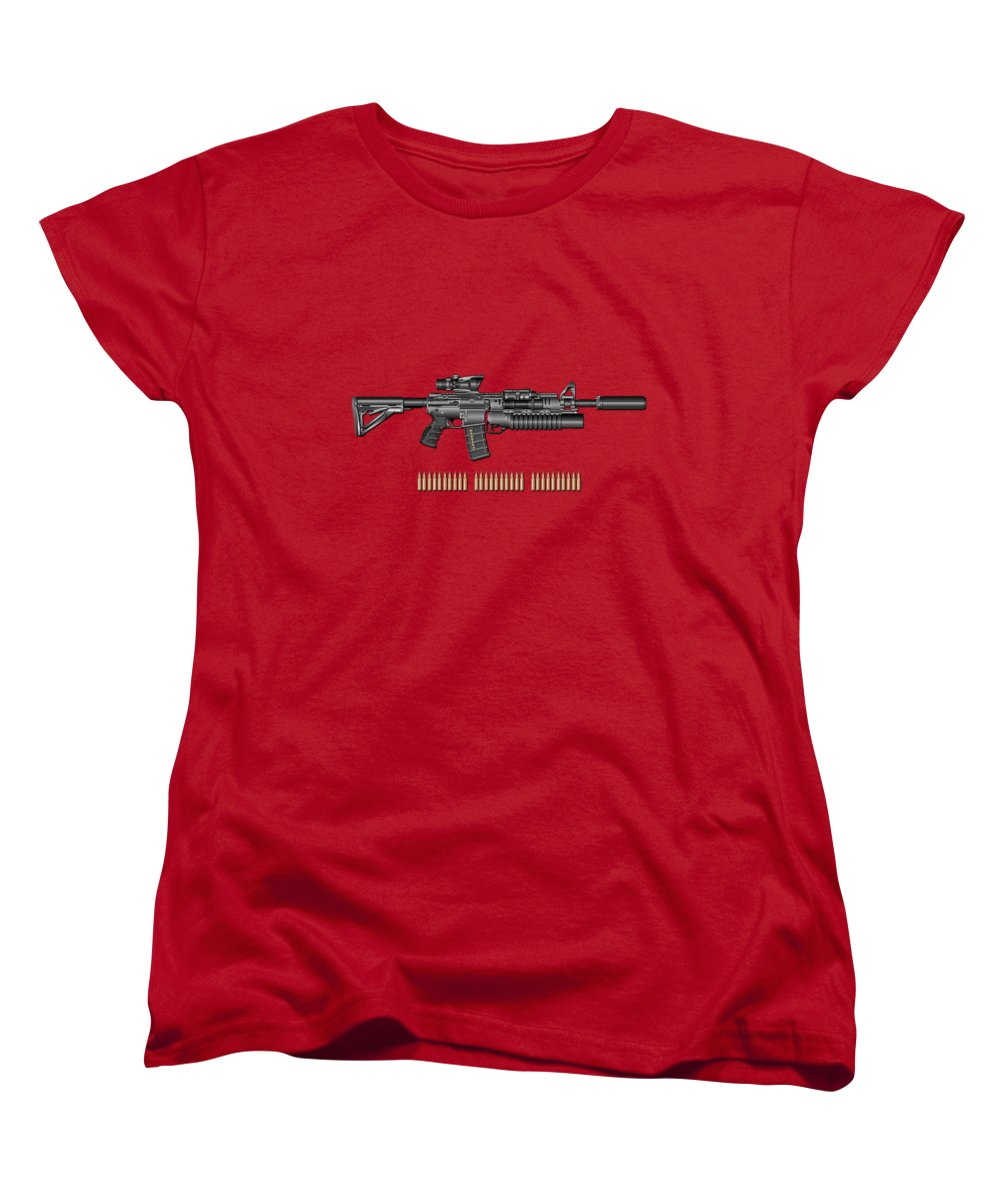 �the Armory� By Serge Averbukh Women's T-Shirt (Standard Cut) featuring the photograph Colt M 4 A 1 S O P M O D Carbine With 5.56 N A T O Rounds On Red Velvet by Serge Averbukh