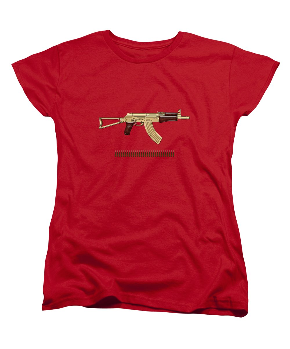'the Armory' Collection By Serge Averbukh Women's T-Shirt (Standard Cut) featuring the photograph Gold A K S-74 U Assault Rifle With 5.45x39 Rounds Over Red Velvet  by Serge Averbukh
