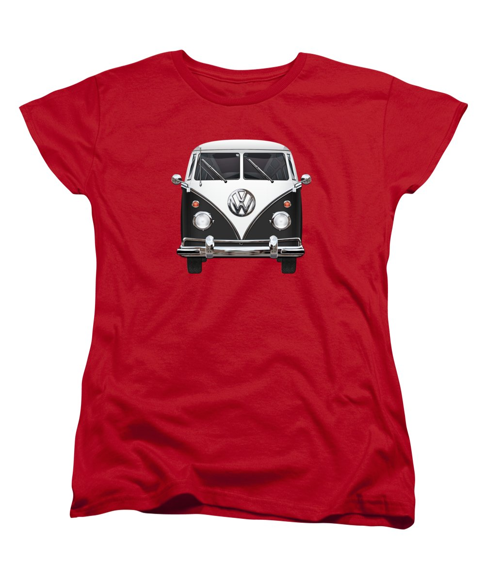 'volkswagen Type 2' Collection By Serge Averbukh Women's T-Shirt (Standard Cut) featuring the photograph Volkswagen Type 2 - Black And White Volkswagen T 1 Samba Bus On Red by Serge Averbukh