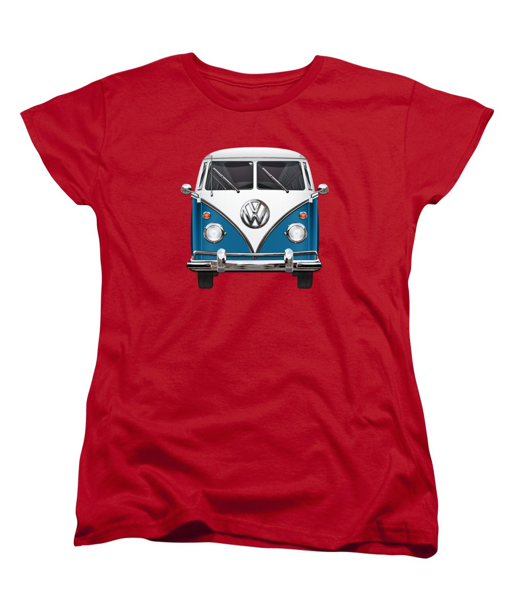 'volkswagen Type 2' Collection By Serge Averbukh Women's T-Shirt (Standard Cut) featuring the photograph Volkswagen Type 2 - Blue And White Volkswagen T 1 Samba Bus Over Orange Canvas by Serge Averbukh