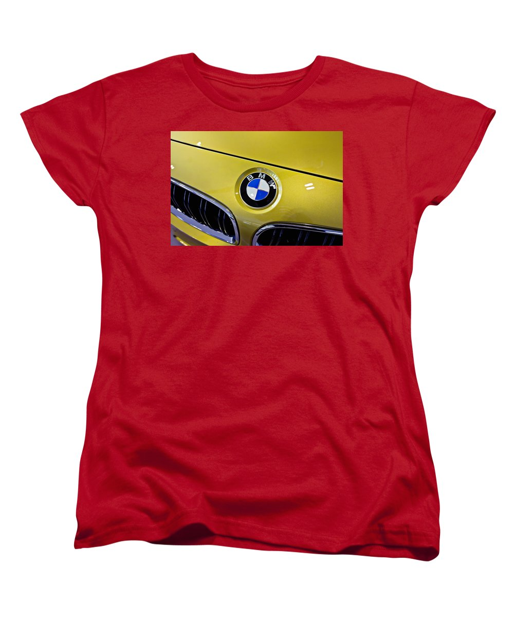 Bmw Women's T-Shirt (Standard Cut) featuring the photograph 2015 Bmw M4 Hood by Aaron Berg