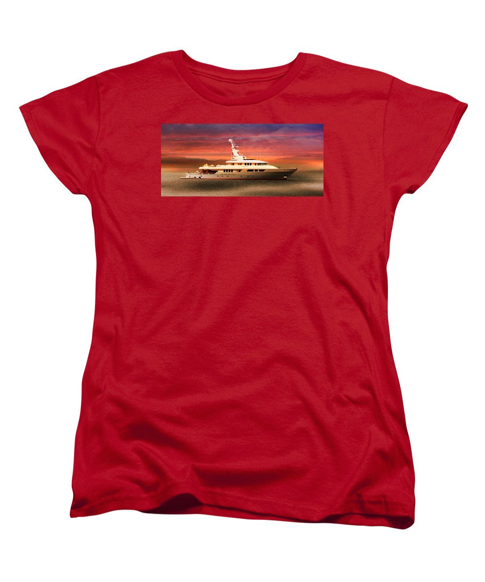 Triton Yachts Women's T-Shirt (Standard Cut) featuring the photograph Triton Yacht by Aaron Berg