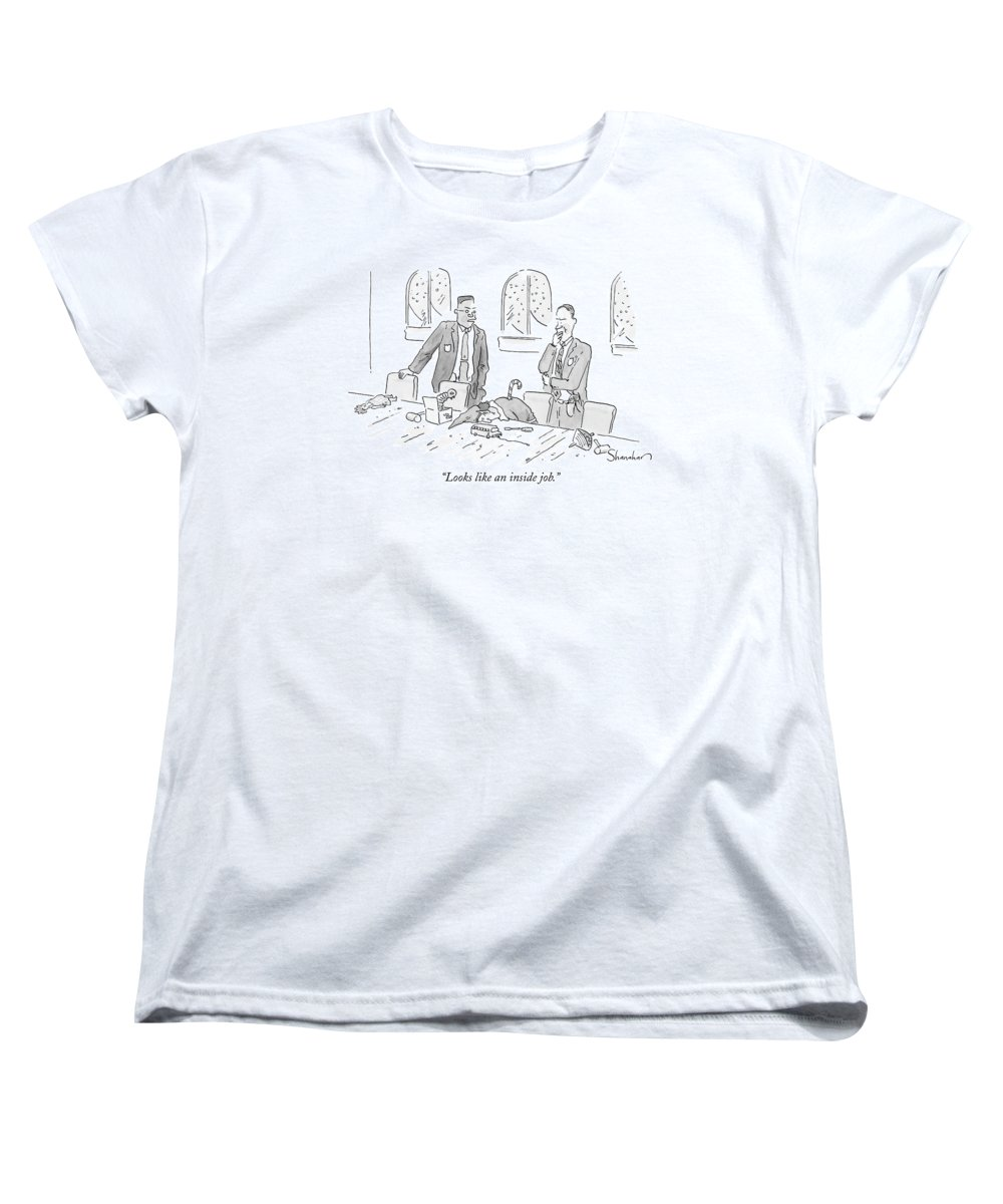 Christmas Women's T-Shirt (Standard Fit) featuring the drawing Looks Like An Inside Job by Danny Shanahan