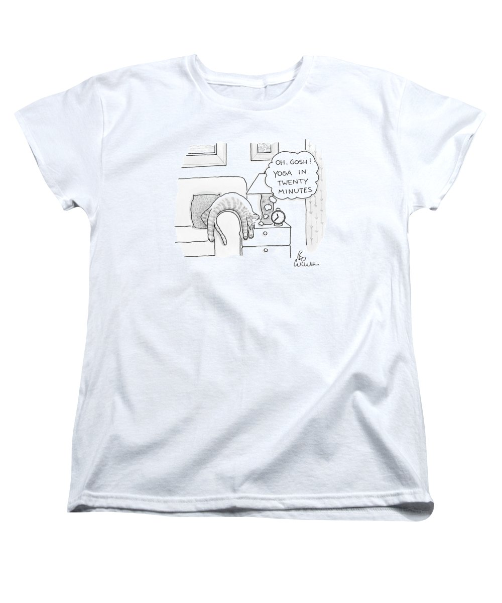 Cat Women's T-Shirt (Standard Fit) featuring the drawing Oh Gosh Yoga In Twenty Minutes by Leo Cullum